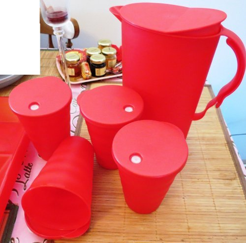 Tupperware Impressions 2 Quart Pitcher & Four 16 Ounce Tumblers, Red, Rare Color