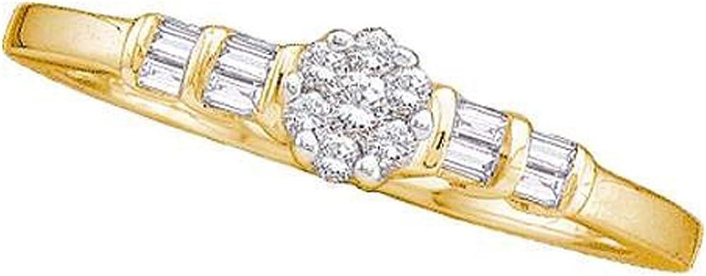 Dazzlingrock Collection - Anillo de boda para mujer con diamante redondo de 14 K y diamante de baguette de 0,15 quilates con centro de flores redondo, oro amarillo