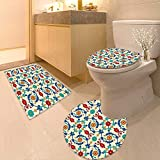 Printsonne Lid Toilet Cover Nostalgic Islamic Art Motifs Floral Ornaments Baroque Inspirations Ethnic Design Multi Personalized Durable