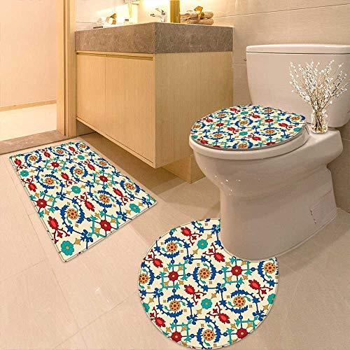 Printsonne Lid Toilet Cover Nostalgic Islamic Art Motifs Floral Ornaments Baroque Inspirations Ethnic Design Multi Personalized Durable by Printsonne