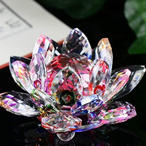 (LtrottedJ Lotus Crystal Glass ,Figure Paperweight Ornament Feng Shui Decor Collection (D))