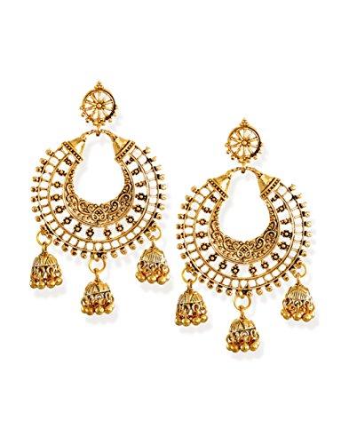 Zaveri Pearls Gold Toned Chandbali With Jhumki Drop Earring ZPFK6621