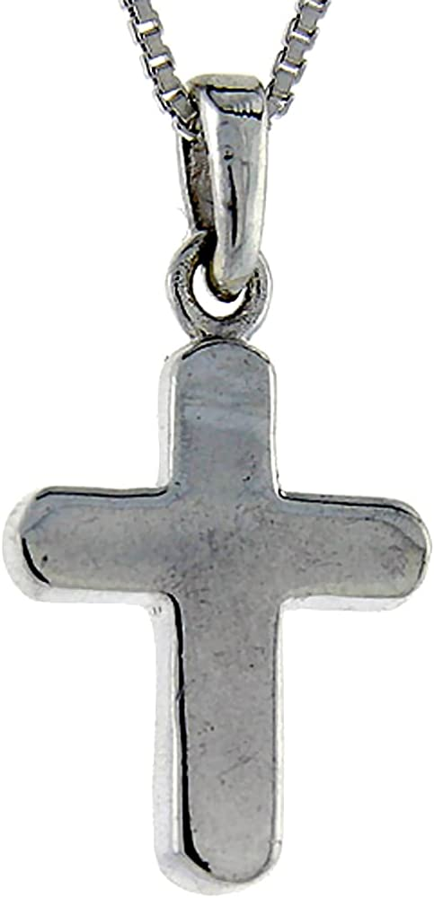 1 inch tall Sterling Silver Polished Cross Pendant