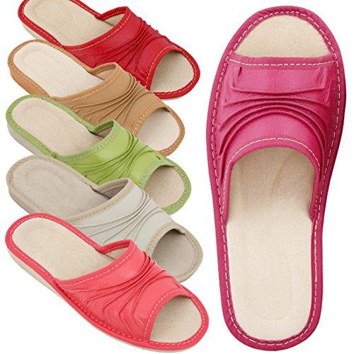 Hausschuhe Damen Echtleder Pantoffeln Latschen Leder Braun Größe 38 NEU Creme