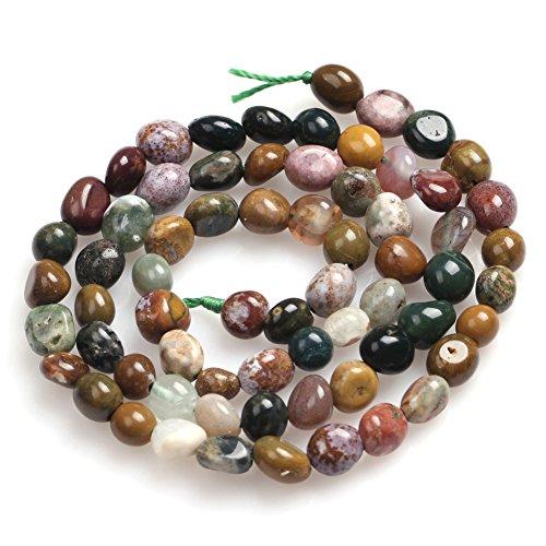 Ocean Jasper Beads Strand (Natural 6x8mm Freeform Agate Gemstone Loose Beads In Bulk For Jewelry Making One Strand 15