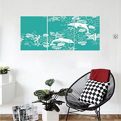 Liguo88 Custom canvas Teal Sea Animals Decor Dolphins and Flowers Sea Floral Pattern Starfish Coral Seashell Wallpaper Pattern Bedroom Living Room Wall Hanging Art Teal White (Linen White Touch Up Paint)