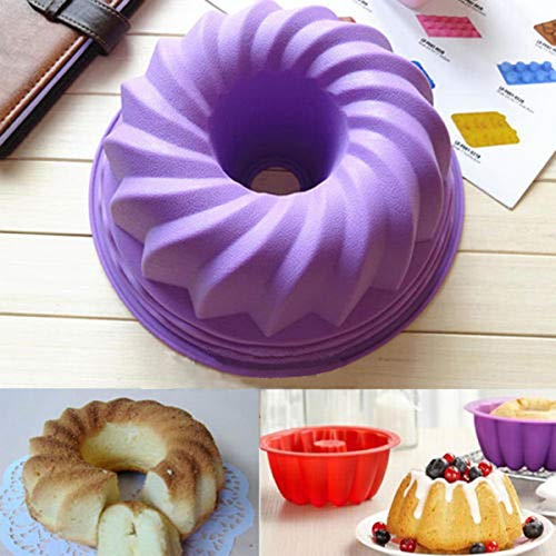 JX-LCLYL 1pc Swirl Bundt Cake Pan Chocolate Pastry Silicone Mold Bakeware Tray Mould Tool