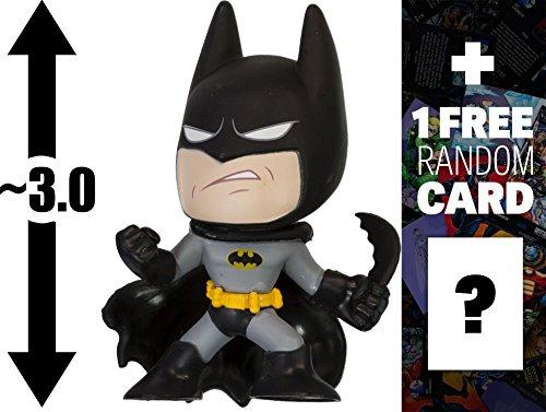 "Batman - Gray & Black: ~3"" DC Comics Super Heroes x Funko Mystery Minis Vinyl Figure Series + 1 Free Official DC Trading Card Bundle"