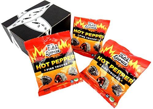 Gustaf's Dutch Licorice Hot Pepper Fire Trucks, 5.29 oz Bags in a BlackTie Box (Pack of 3)