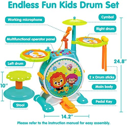 Kids Drum Set Musical Instruments Toys Electric Toy Drum Set for Kids Educational Musical Toys Working Microphone Chair Adjustable Sound Electronic Drum Set Birthday Gifts for Boys Girls Children Kids