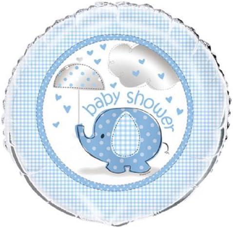 "Baby Shower 18/"" Helium Foil Balloon Blue Umbrellaphants Supplies Boy Decoration"