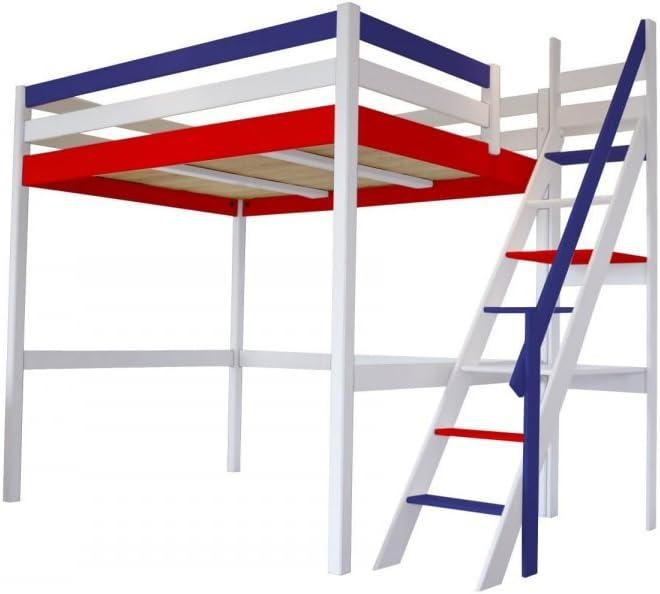ABC muebles cama Mezzanine Sylvia con escalera de Meunier madera – 1130, Bleu Blanc Rouge, 140 x 200: Amazon.es: Hogar