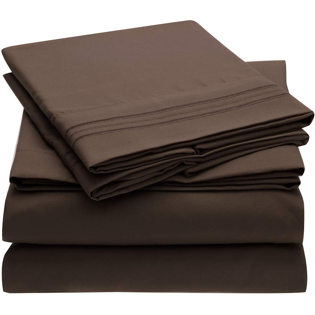 Mellanni Bed Sheet Set Brushed Microfiber 1800 Bedding - Wrinkle, Fade, Stain Resistant - Hypoallergenic - 4 Piece (Cal King, Brown)