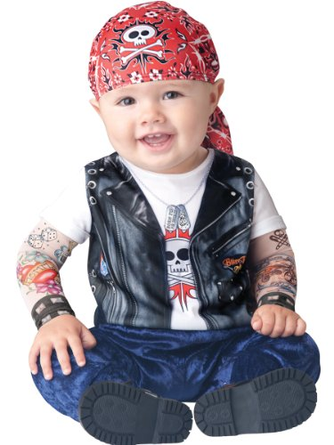 InCharacter Baby Boy's Born To Be Wild Biker Costume, Black/Red, Medium by Fun World