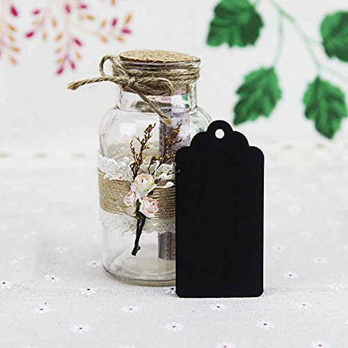 SallyFashion 100pcs Black Paper Gift Tags with Free 100 Root Natural Jute Twine ( Water Ripple )