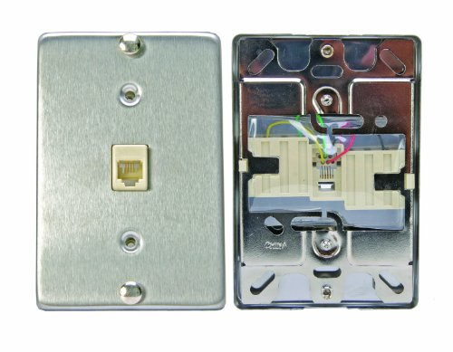 Leviton C0256-SS Telephone Wall Phone Wallplate Surface Mount Jack ()