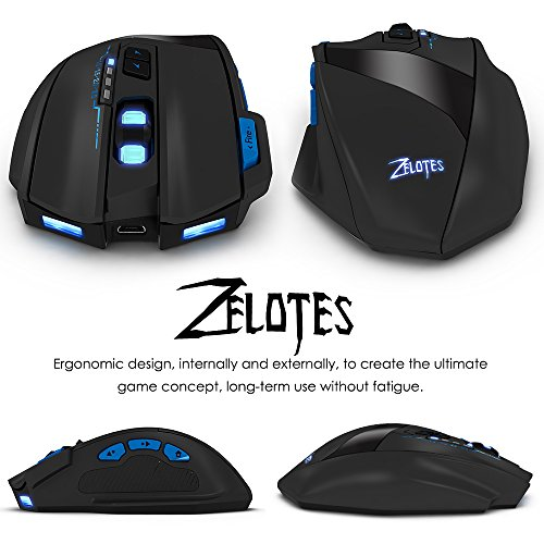 03e9e329844 ZELOTES F15 2500DPI Wireless Gaming Mouse with USB Receiver, 4 Adjustable  DPI,9 Buttons
