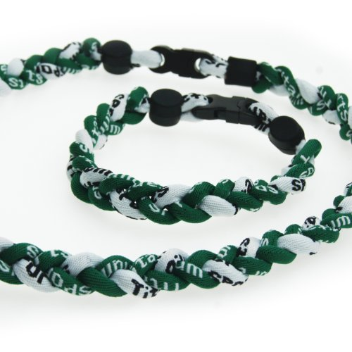 Titanium Sport Necklace & Bracelet -with Kare & Kind Retail Packaging (Green & White)