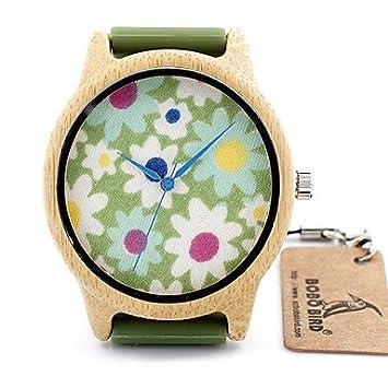 a983d812e10 Vintage Wooden Watch women Floral Leather Japan quartz watch relogio  feminino Montres femme ( Color