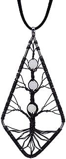 WYLXL Collana Gun-Black Geetric Glow Bead Tree of Life Collana a Ciondolo Ovale Waterdrop Shell Long Velvet Collana Maglione Wen