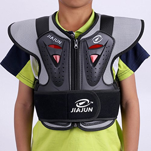 Children Motorcycle Armor Vest Kids Sports Chest Back Spine Protector Back Support Protective Gear Jackets Guard Shirt For Dirtbike Motocross Off Road Skiing Snowboarding Dirt Bike (Black, M) -  Takuey