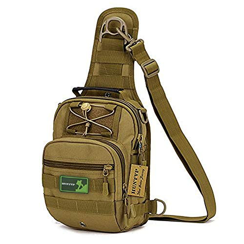 Huntvp Tactical Military Sling Chest Daypack Laptop Backpack For Hunting, Camping and Trekking - Dark Brown ()