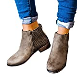 Womens Causal Heeled Ankle Boots Pointed Toe Slip on Bootie Faux Leather Chunky Low Heel Shoes