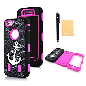 TIANLI(TM) Anchor Defender Case for Iphone 5C+[Screen Protector]+[Free Stylus]+[Cleaning Cloth] Hot Pink