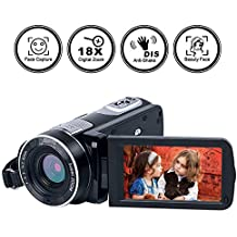 """Camcorder Digital Camera Full HD 1080p 18X Digital Zoom Night Vision Pause Function with 3.0"""" LCD and 270 Degree Rotation Screen with Remote Controller…"""