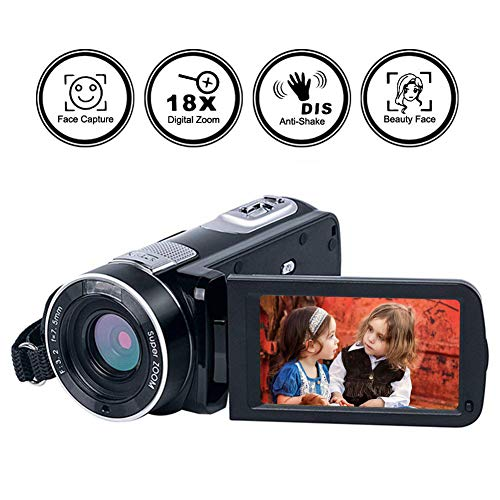 "Camcorder Digital Camera Full HD 1080p 18X Digital Zoom Night Vision Pause Function with 3.0"" LCD and 270 Degree Rotation Screen with Remote Controller…"