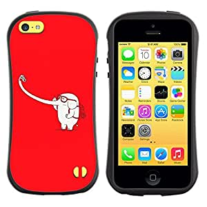 All-Round híbrido de goma duro caso cubierta protectora Accesorio Generación-I BY RAYDREAMMM - Apple iPhone 5C - Elephant White Long Trunk Selfie Parody Funny