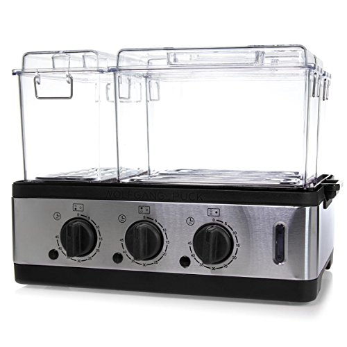 Wolfgang Puck 3-Chamber 9-Quart Electric Steamer with Recipes