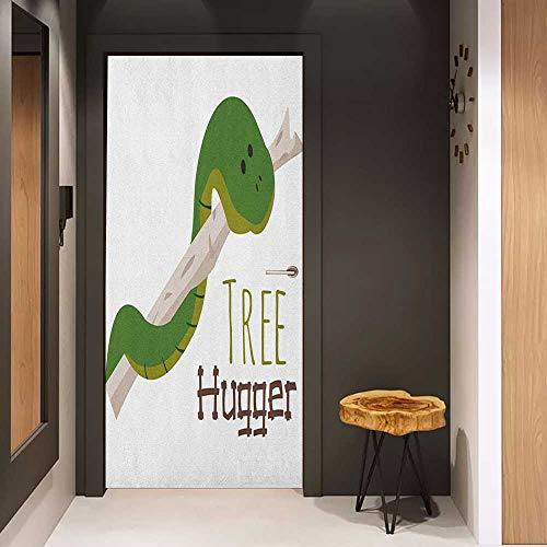 Onefzc Self-Adhesive Wall Murals Reptile Cute Cartoon Snake Hanging from Tree Hug Love Mascot Humor Comic Design Print Sticker Removable Door Decal W35.4 x H78.7 Green Navy ()