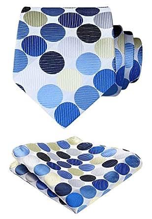 HISDERN Polka Dot Floral Wedding Tie Handkerchief Woven Classic Men's Necktie & Pocket Square Set Beige & Blue