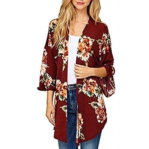 ZFFde Invierno Floral Kimono Cardigan Coat Women Cover Up manga larga abierta delantera prendas de vestir exteriores (Color : Red, tamaño : L)