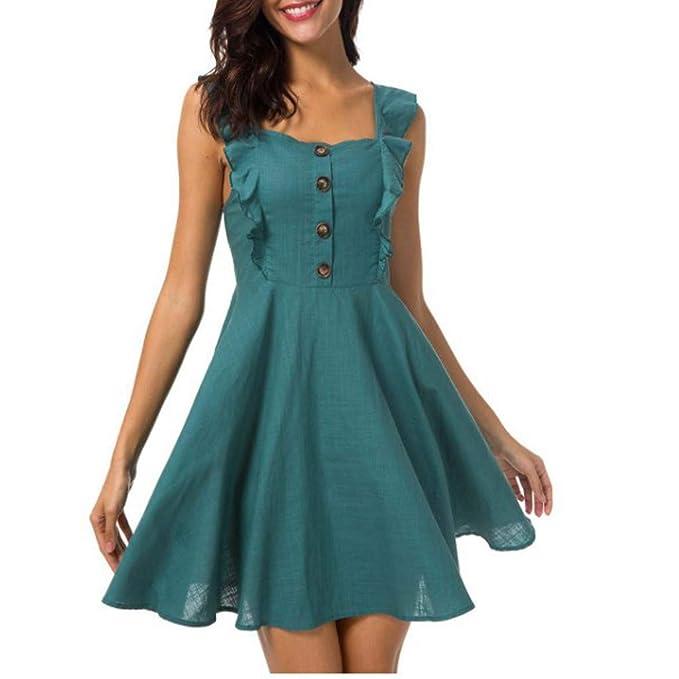 87fc1e0371 GreatestPAK Women's Vest Sleeveless Ruffled Dress, Summer Sexy ...