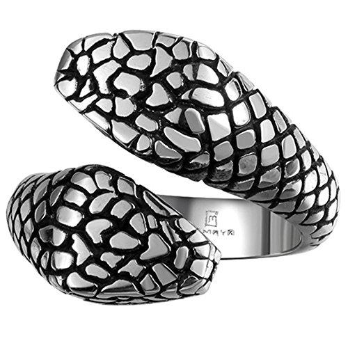 nd America Retro Personality Flower Texture Snake Titanium Steel Ring(Diameter:19.8mm) ()