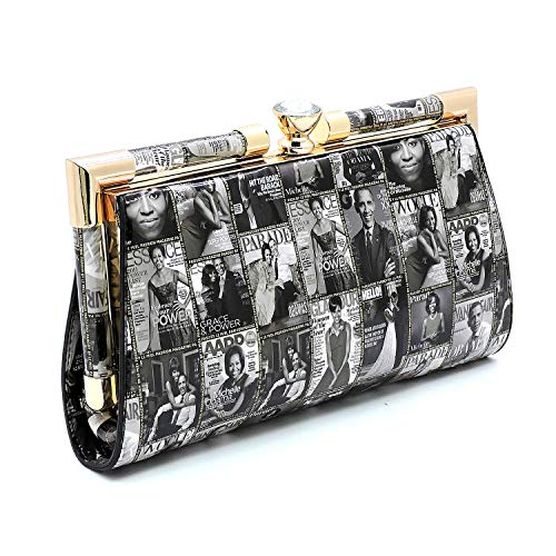 (Glossy Magazine Cover Collage Michelle Obama Printed Big Rhinestone Frame Clutch bags with Chain shoulder strap (Black/White) )