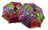 Bohemian Indian Handmade Design, Cotton Multi Color Embroidery Sun Umbrella Parasol 24 Inches