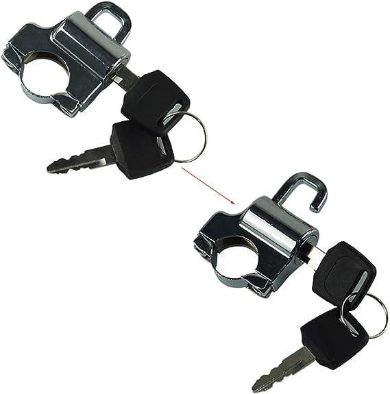 Qillu Universal motocicleta Casco bloqueo gancho con 2 llaves Conjunto