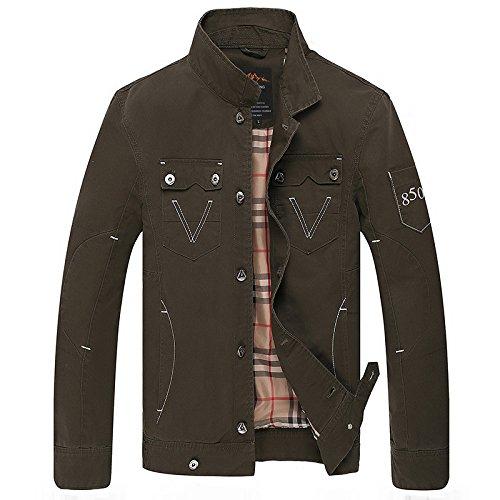 vert XXXL Hommes's Décontracté Veste Veste Coton col Manteau de Couleur Solide Stand