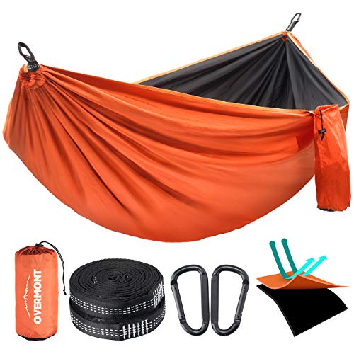 Overmont Double Layers Outdoor Hammock for Two Portable Camping Hammock Lightweight for Backpacking Hiking Sports Travel with Tree Straps Max Load of 880lbs German TUV Certificated