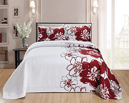 Better Home Style 2 Piece Luxury Modern Floral Flowers Printed Design Quilt Coverlet Bedspread Bed Cover Set # AHF1 (Red, Twin/Twin XL)