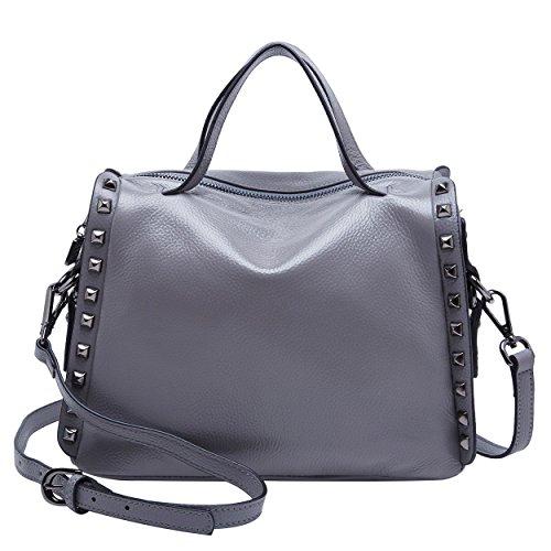 Handbag Bag Crossbody Grey Ladies Women Satchel Top Purse Leather Shoulder BOYATU for Grey Handle Bag Tote qEzF6H