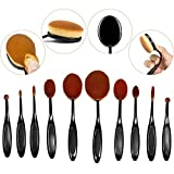 BeautyKate(TM) Professional 10 Pcs Oval Face Toothbrush Makeup Brushes Sets Countour Cream Powder Concealer Blush Cosmetic Foundation