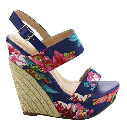 Chase & Chloe Eh85 Womens Floral Utskrift Plattform Espadrille Kile  Sandaler Blå Blomster ...