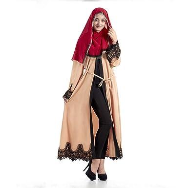 91bc7eda919 Muslim Dresses for Women Muslim Abaya with Waist Belt Muslim Women Dress  Islamic Long Sleeve Maxi