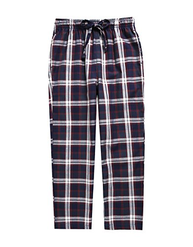 TINFL Boys Plaid Check Soft 100% Cotton Lounge Pants BLP-SB007-Navy-L