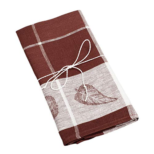100% Linen Kitchen Towels - 2-Pack - European Flax - 19x28 - with Leaves - Brown