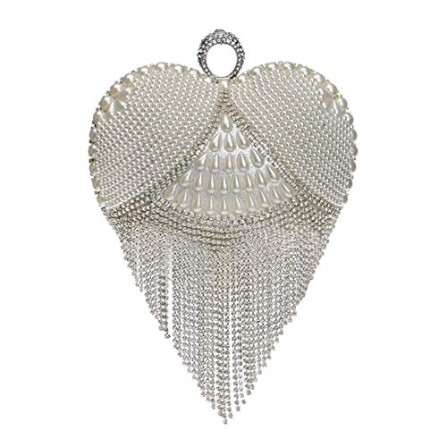 Evening Bags For Womens Clutch Purse Chain Dress Handbag Fringe Wedding Silver